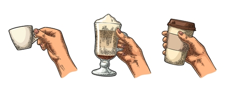 Hands holding a disposable cup of coffee with cardboard holder and glass of latte with whipped cream. Vintage color vector engraving illustration  Isolated on white background