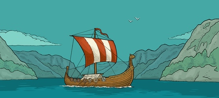 Drakkar che galleggia sul fiordo in Norvegia. Nave a vela elemento di design disegnato a mano. Illustrazione di incisione vettoriale vintage colore per poster, etichette, timbro postale.