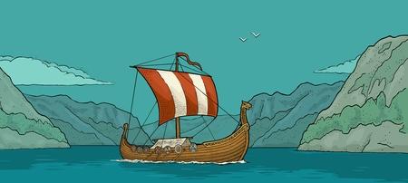 Drakkar flotando en el fiordo en Noruega. Dibujado a mano elemento de diseño velero. Ilustración de grabado de vector de color vintage para cartel, etiqueta, matasellos. Ilustración de vector