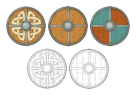 バイキングルーン、鉄の境界線で木製の丸いシールドを設定します。彫刻