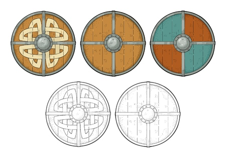 Set wood round shields with viking runes, iron border. Engraving