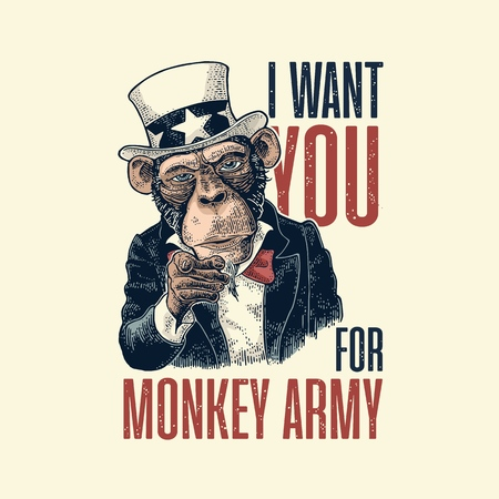 Monkey Uncle Sam with pointing finger at viewer Vintage engraving Illustration