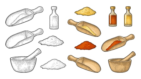 Cooking spices and utensils icon set