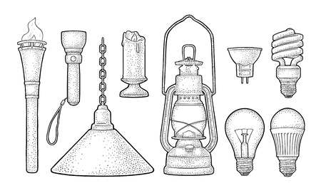 Set of lighting object and different types electric lamps in hand drawn illustration. Stock Illustratie