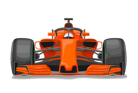 Racing car with protection front view. Vector flat color illustration isolated on white background