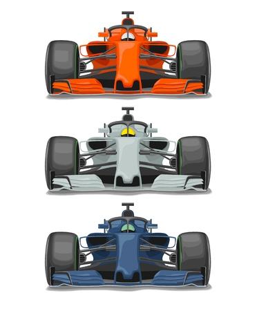保護フロントビューベクターフラットカラーイラストを持つ3つのレーシングカーは、白い背景に分離