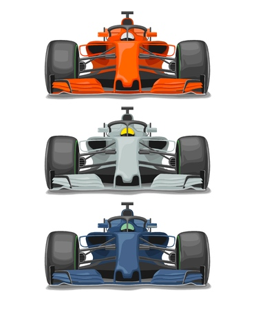Three racing car with protection front view Vector flat color illustration isolated on white background  イラスト・ベクター素材