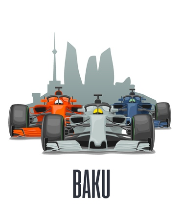 Cityline Baku and three racing cars on Grand Prix. Vector flat illustration isolated on white background for poster, web icon 일러스트