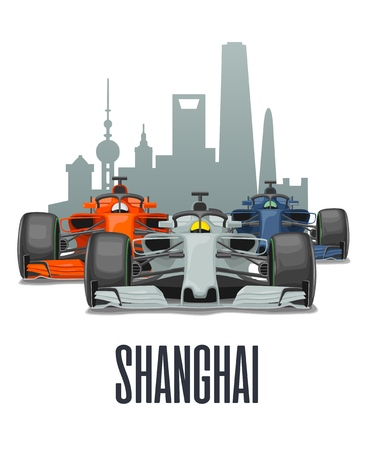 Cityline Shanghai and three racing cars on Grand Prix China. Vector flat illustration isolated on white background for poster, web icon