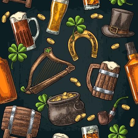 Seamless pattern on Saint Patricks Day. Top gentleman hat, pot of gold coins, pipe, beer glass, lyre, horseshoe, clover, barrel. Vector vintage color engraved illustration isolated dark background.