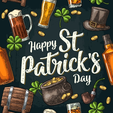 Seamless pattern Saint Patrick s Day. Top gentleman hat, pot of gold coins, pipe, beer glass, lyre, horseshoe, clover, barrel. Vector vintage color engraved illustration isolated dark background.