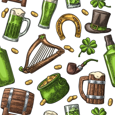 Seamless pattern Saint Patricks Day. Top gentleman hat, pot of gold coins, pipe, beer glass, lyre, horseshoe, clover, barrel. Vector vintage color engraved illustration isolated white background.