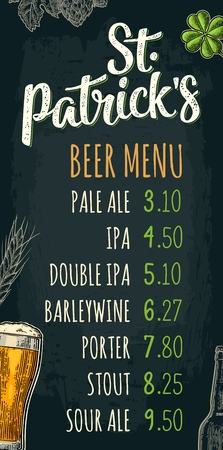 Restaurant or cafe menu with price. Glass, bottle, hop branch, ear of barley. St. Patrick's calligraphic lettering. Vintage color vector engraving illustration on dark background