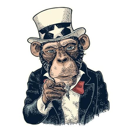 Mono Tío Sam con el dedo apuntando al espectador, desde el frente. Te deseo. Ilustración de grabado de color vintage para cartel de reclutamiento. Aislado sobre fondo blanco Elemento de diseño dibujado a mano