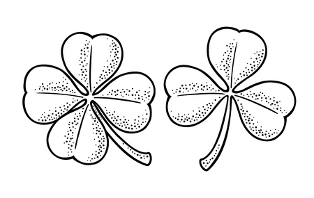 Good luck four and three leaf clover. Stock Vector - 96627018