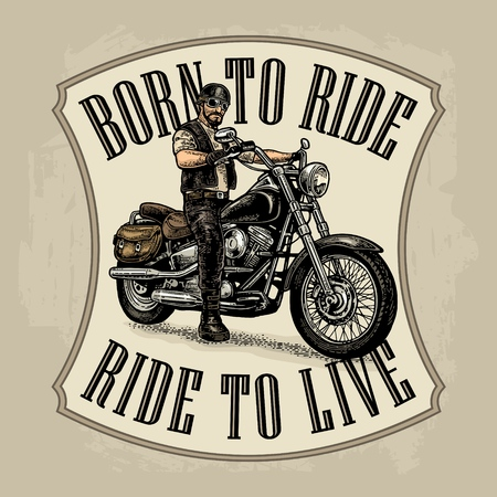 Man in the motorcycle helmet and glasses riding a classic chopper bike. Side view. Born to ride, ride to live lettering. Vector color engraving vintage for poster and t-shirt biker club