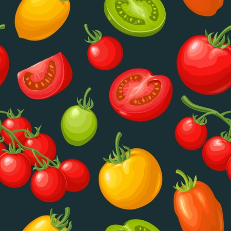 Seamless pattern with tomato half, slice and branch. Flat color vector illustration.