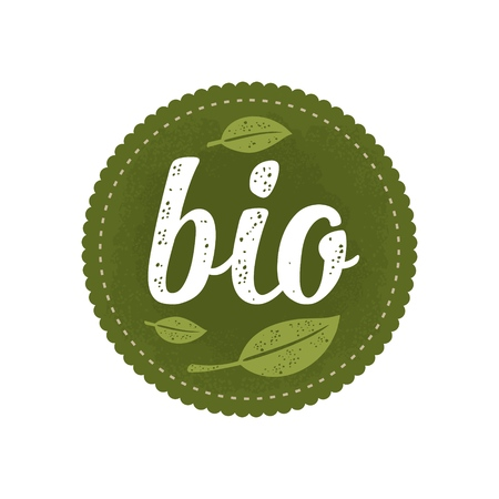 Bio calligraphic handwriting lettering and leaf. Vector white vintage illustration isolated on dark green circle sticker. Sign for natural organic food