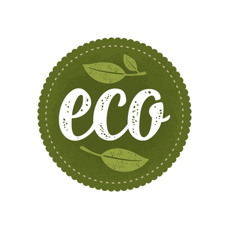 Eco calligraphic handwriting lettering and leaf. Vector white vintage illustration isolated on dark green circle sticker. Sign for natural organic food