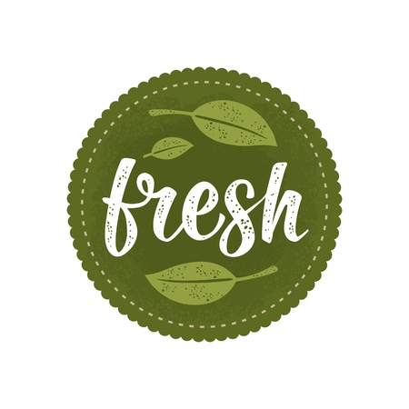 Fresh calligraphic handwriting lettering and leaf. Vector white vintage illustration isolated on dark green circle sticker. Sign for natural organic food