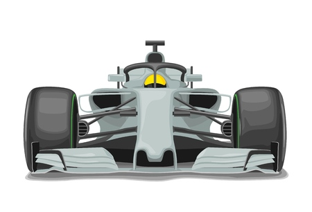 Racing silver car with protection front view. Vector flat color illustration isolated on white background