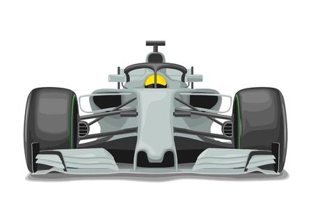 Racing zilveren auto met bescherming vooraanzicht. Vector egale kleur illustratie geïsoleerd op een witte achtergrond