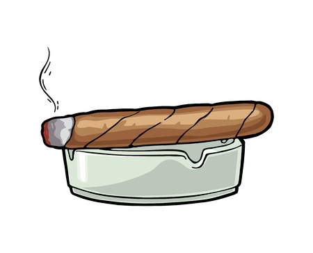Smoking cigar and ashtray. Engraving vintage vector color illustration.
