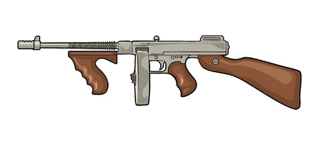 Gangsters automatic weapon Tommy gun. Flat vintage vector color illustration. Isolated on white background. Hand drawn design element for label and poster