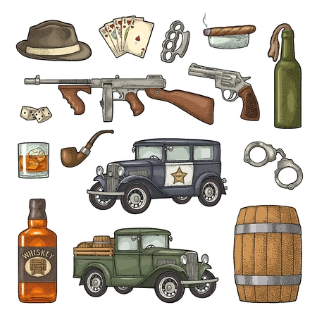 Gangster mafia set. Engraving vintage vector color illustration.