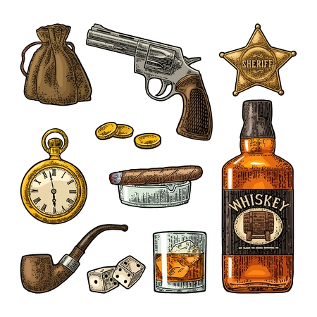 Set Wild West symbols. Sheriff star, revolver, dice, horseshoe, wanted poster , whiskey bottle, money bag, watch, cigar, smoke, pipe, coins. Vector vintage color engraving isolated on white backgrond