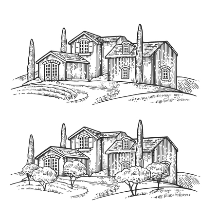 Rural landscape with villa or farm with field, olive tree and cypress. Vector engraving vintage black illustration. Isolated on white background. 일러스트