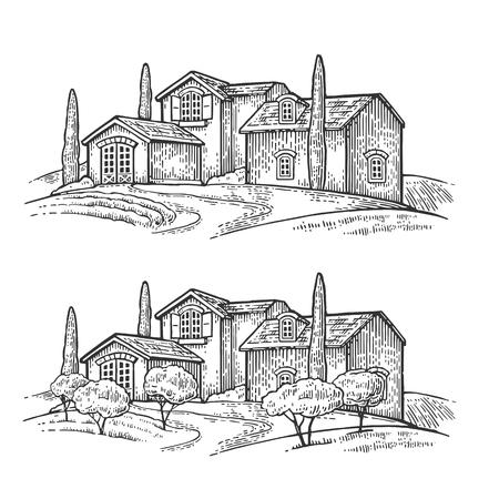 Paisaje rural con villa o granja con campo, olivo y ciprés. Vector grabado vintage negro ilustración. Aislado sobre fondo blanco