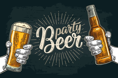 Two male hands holding and clinking glass and bottle. Beer party calligraphic handwriting lettering. Vintage vector color engraving illustration for invitation. Isolated on dark background.