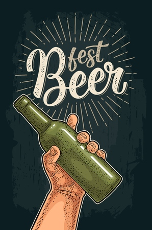 Man hand holding open bottle. Beer Fest calligraphic handwriting lettering. Vintage vector color engraving illustration for web, poster, invitation to party. Isolated on white background.