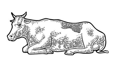 牛。グラフィックスタイルで描かれた手描き。