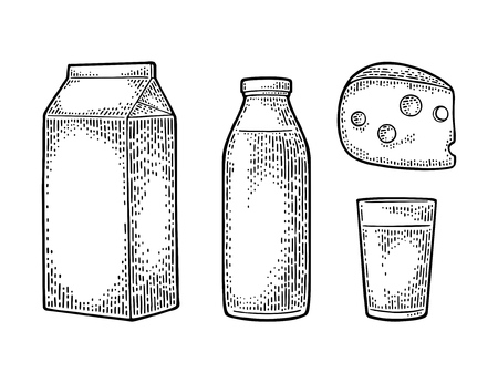 Milk box carton package, glass, bottle, cheese. Vector engraving vintage black illustration. Isolated on white background. Illustration