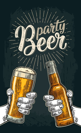 Beer party calligraphic handwriting lettering poster design Illustration