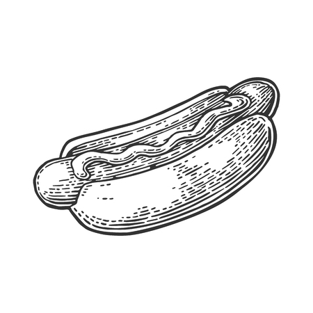 Hotdog. Isolated on white background. Vector vintage engraving illustration for poster.