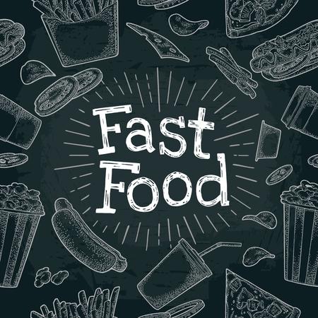 Seamless pattern fast food.
