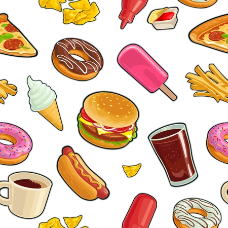 Seamless pattern fast food. Cup cola, coffee, donut, ice cream, chips, popsicle, pizza, hamburger, hotdog, fry potato, ketchup. Vector flat color illustration isolated on white background