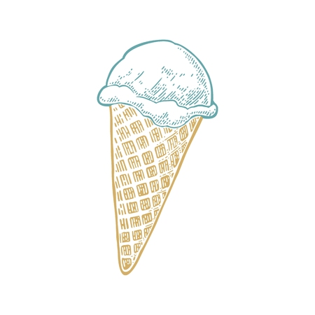 Ice cream in the cone. Isolated on white background. Vector vintage color engraving illustration.