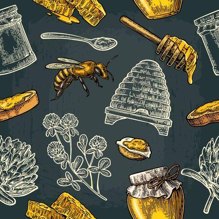 Modello senza cuciture con miele, ape, alveare, trifoglio, cucchiaio, cracker, pane e nido d'ape. Archivio Fotografico - 97610375