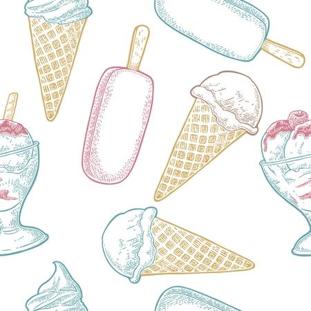 コーン、ボウル、チョコレートとなしの木スティックにアイスクリームとシームレスなパターン。白い背景に隔離されています。ベクターヴィンテ