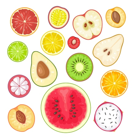 Apricot, kiwi, green, lemon, lime, orange, peach, pear, cherry with shadow on the dark background.