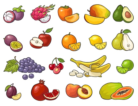Set fruits. Mango, lime, banana, maracuya, avocado, dragon, lemon, orange, garnet, peach, apple, pear, grape, plum, passion, mangosteen, papay, persimmon, cherry. Vector color vintage engraving isolat