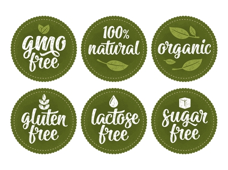 Gluten, lactose, sugar, Gmo free lettering with leaf, cube, drop. Vector white vintage illustration isolated on dark green circle sticker. Sign 100% natural organic food