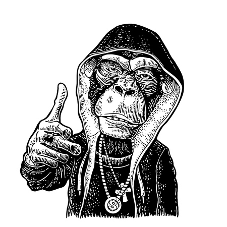 Monkey raper dressed in the hoodie, necklace with dollar, cross. Showing symbol Like. Vintage black engraving illustration. Isolated on white background. Hand drawn design element for poster, t-shirt