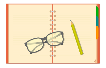 Blank opened notebook, glasses, pencil. Vector flat color illustration isolated on white background.