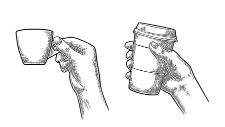 Hand holding a disposable cup of coffee with cardboard holder and cap. Vintage black vector engraving illustration for label, web, flayer. Isolated on white background Banque d'images - 97509819
