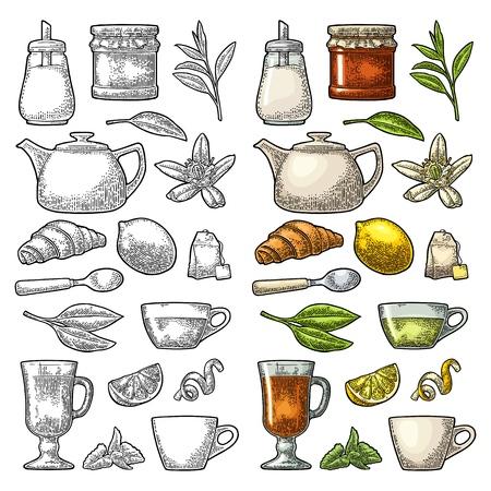Set tea. Cup, branch, leaf, kettle, flower, lemon, croissant, bag, sugar shaker . Vector color vintage engraving illustration for label, poster, web. Isolated on white background.